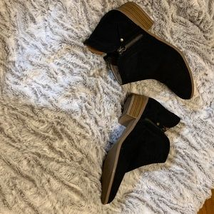 JustFab Black Vegan Suede Booties